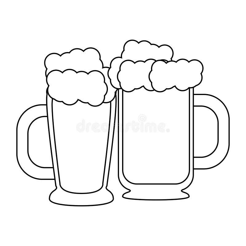 Boissons alcoolisées fraîches en verre de bière en noir et blanc illustration stock
