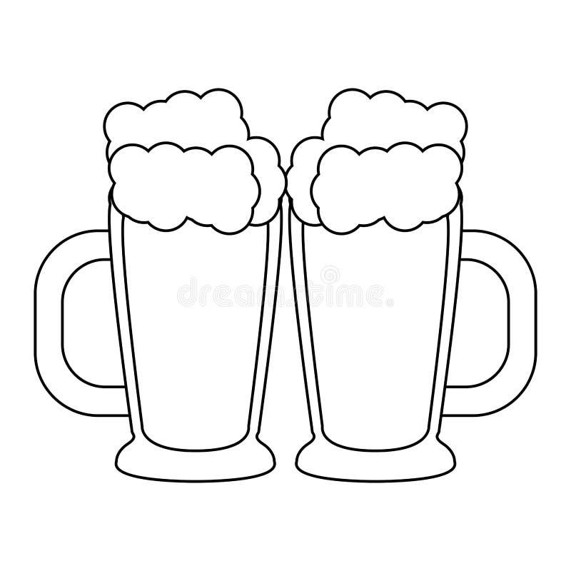 Boissons alcoolisées fraîches en verre de bière en noir et blanc illustration de vecteur
