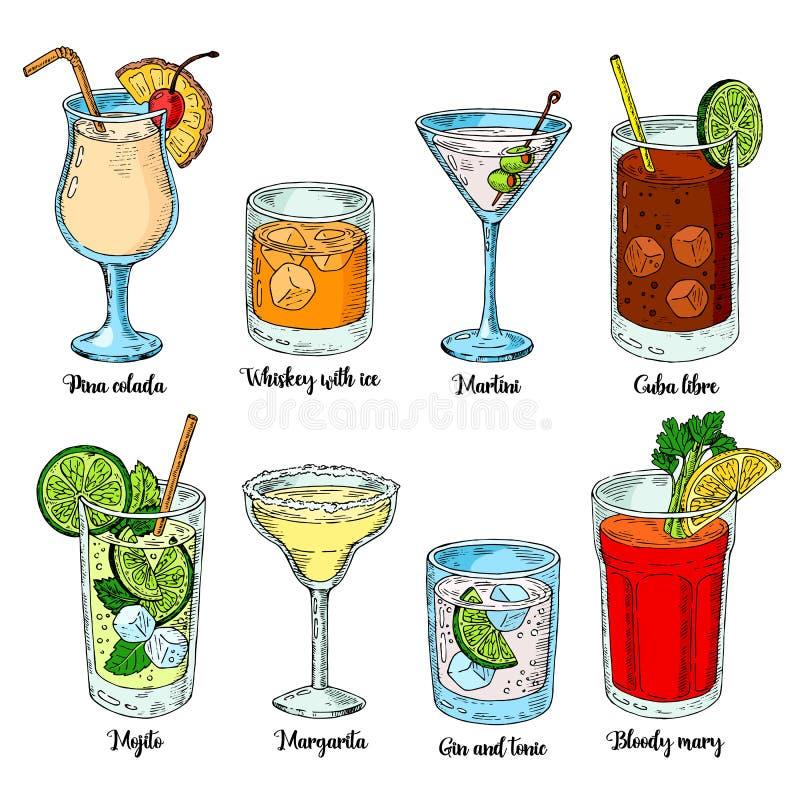 Boissons alcoolisées réglées Illustration de vecteur Margarita, whiskey, tequila Mojito, bloody mary et libre du Cuba illustration de vecteur