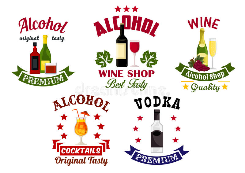 Boissons d'alcool, emblèmes de barre de cocktail réglés illustration libre de droits