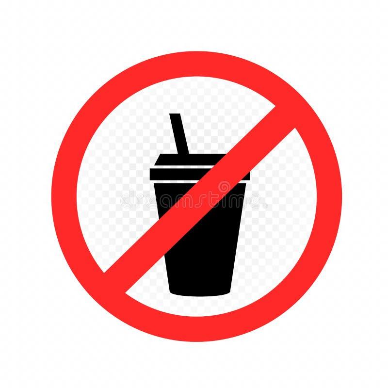 Boissons dans le signe en plastique d'interdiction de tasse illustration de vecteur