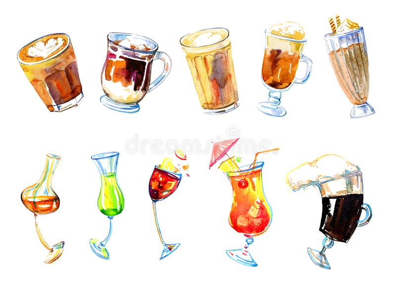 Boissons de café et ensemble d'aquarelle de cocktails d'alcool Illustration tirée par la main de croquis d'isolement sur le fond  illustration libre de droits