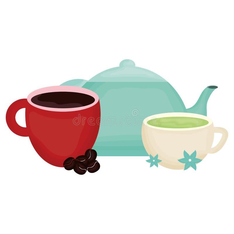 Boissons de th?i?re et de caf? de cuisine illustration de vecteur