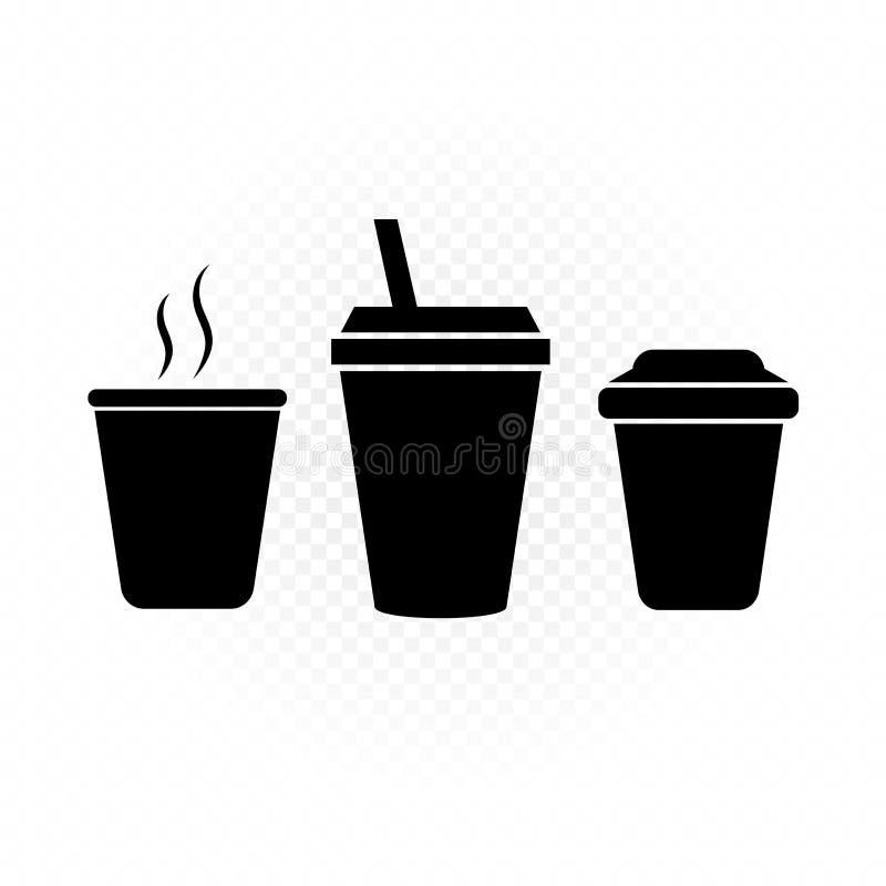Boissons en silhouette en plastique de signe de tasse illustration de vecteur