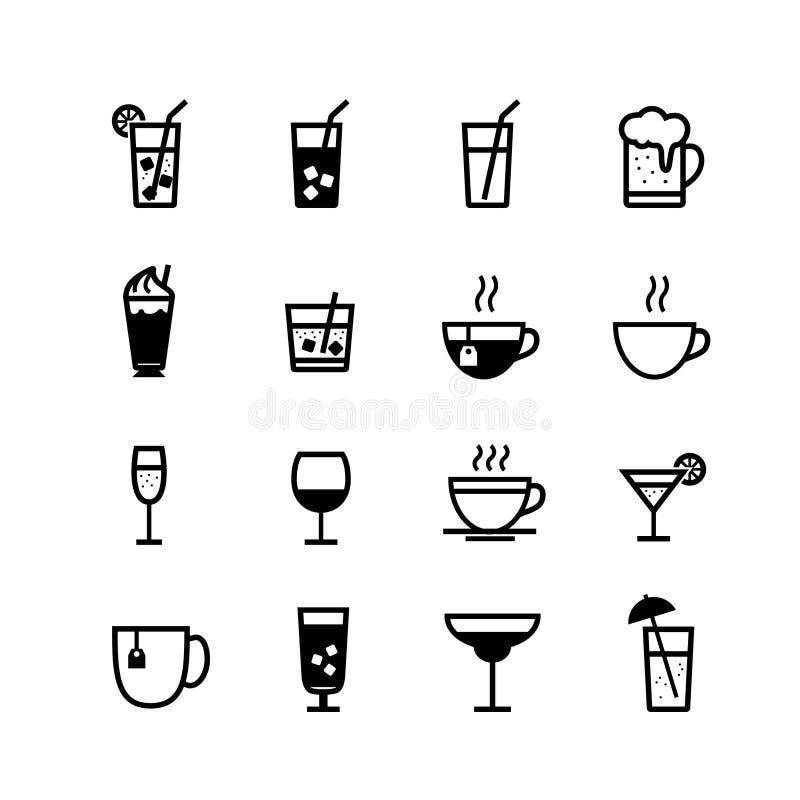 Boissons et ensemble d'icône de boissons photographie stock libre de droits