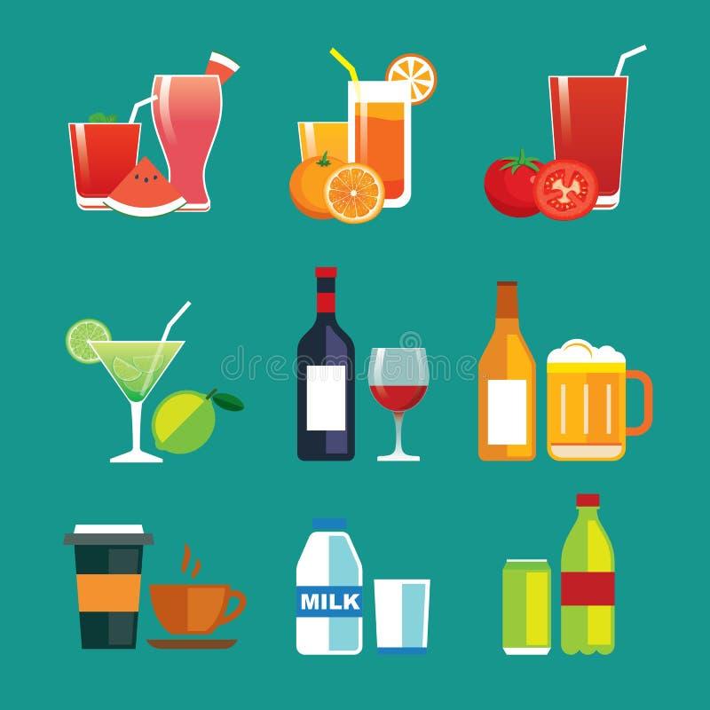Boissons et ensemble plat d'icône de conception de boissons illustration de vecteur