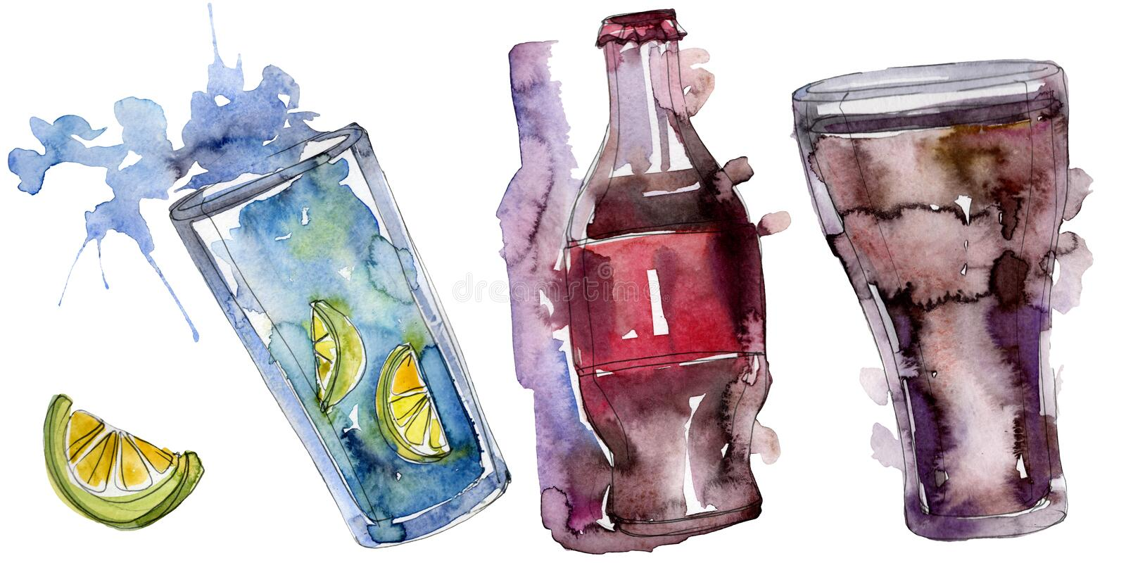 Boissons non alcoolis?es fra?ches et froides Ensemble d'illustration de fond d'aquarelle ?l?ment d'isolement d'illustration de bo illustration de vecteur