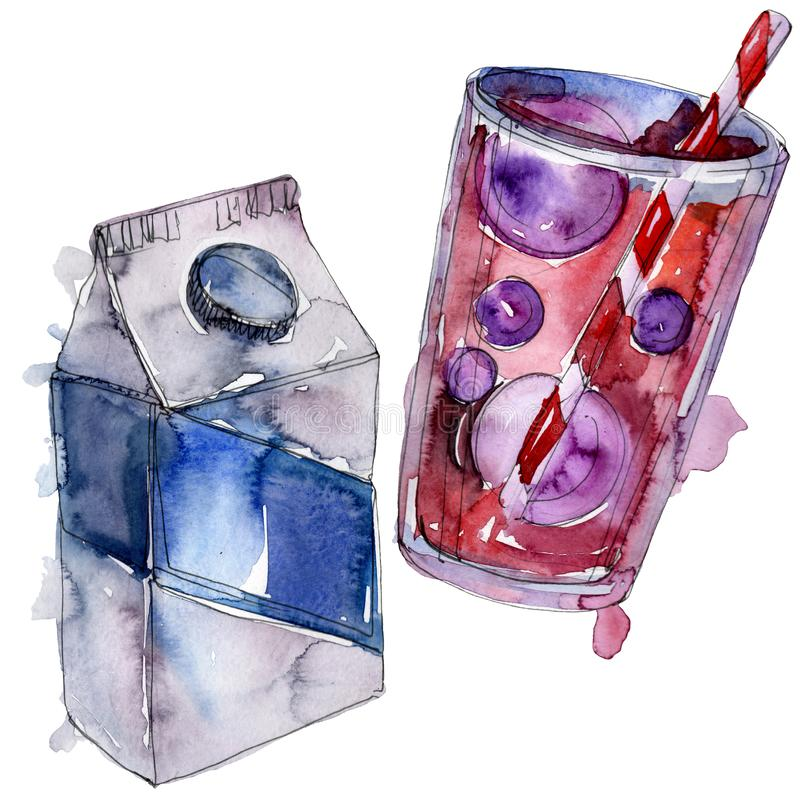 Boissons non alcoolis?es fra?ches et froides Ensemble d'illustration de fond d'aquarelle ?l?ment d'isolement d'illustration de bo illustration stock