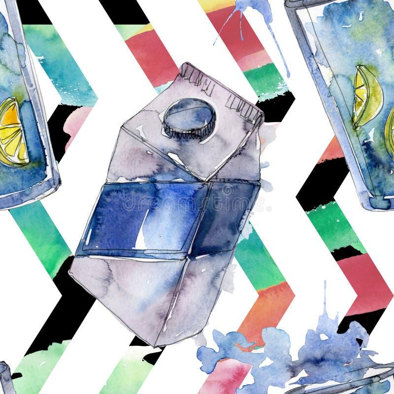 Boissons non alcoolis?es fra?ches et froides Ensemble d'illustration de fond d'aquarelle Mod?le sans couture de fond illustration libre de droits