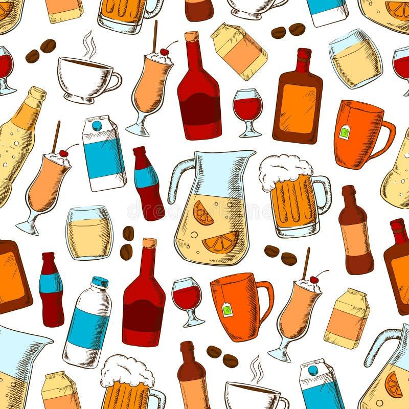 Boit le modèle sans couture Éléments d'alcool, frais et sains de boissons illustration libre de droits