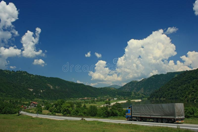 Boita - Romania. Entrance to 68 long canyon between Talmaciu and Ramnicu Valcea in Romania. The canyon is bordered by the Mountains Muntii Fagaransuii, Muntii royalty free stock images