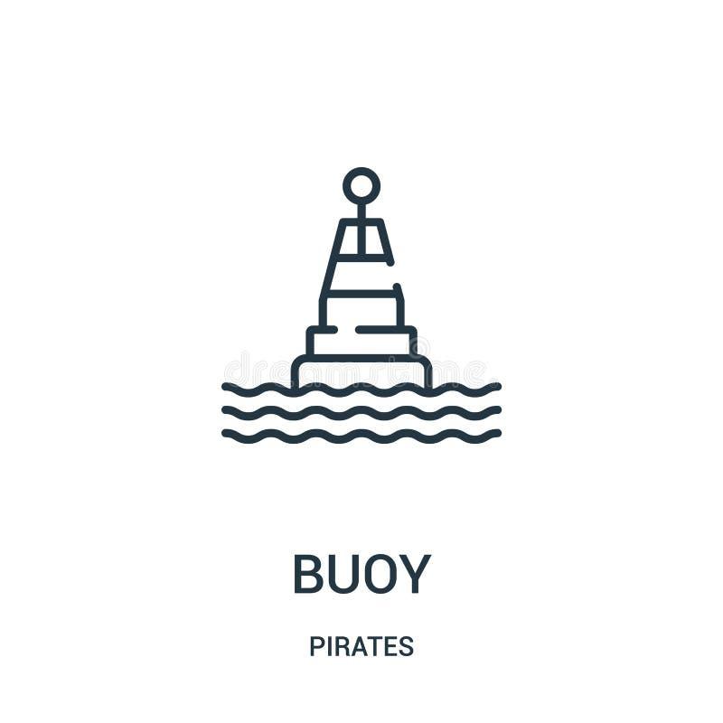 boja ikony wektor od piratów inkasowych Cienka kreskowa boja konturu ikony wektoru ilustracja Liniowy symbol dla używa na sieci i ilustracji