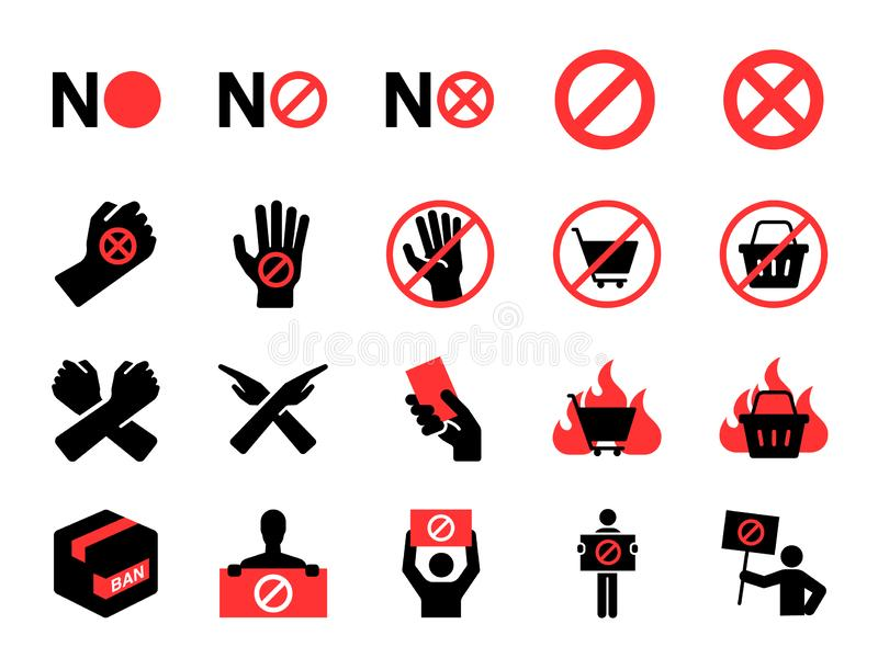 Bojkottsymbolsuppsättning Inklusive symboler som protest, förbud, inte, utskottsvaran, personen som protesterar som, är förbjudna stock illustrationer