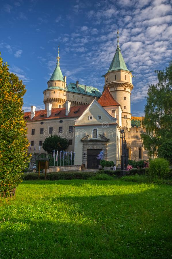 Bojnice castle entrance stock images