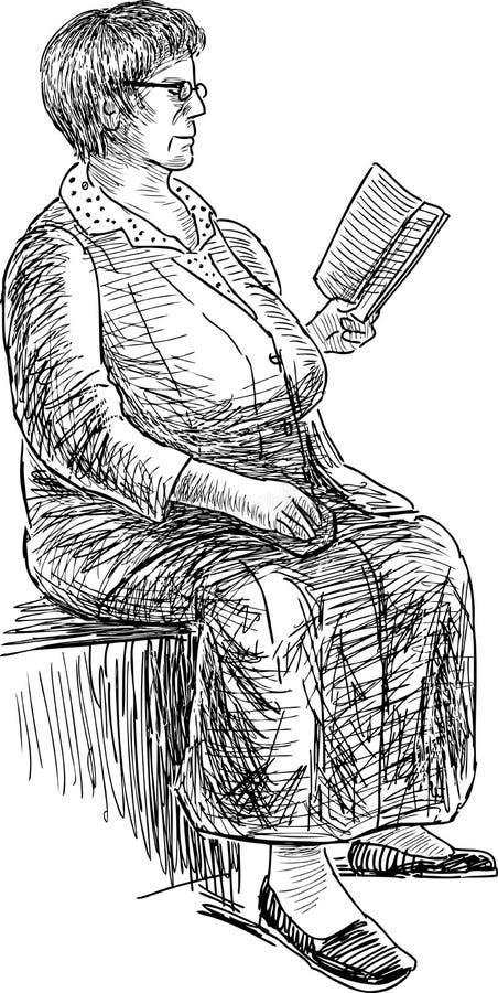 bokåldringen läser kvinnan stock illustrationer
