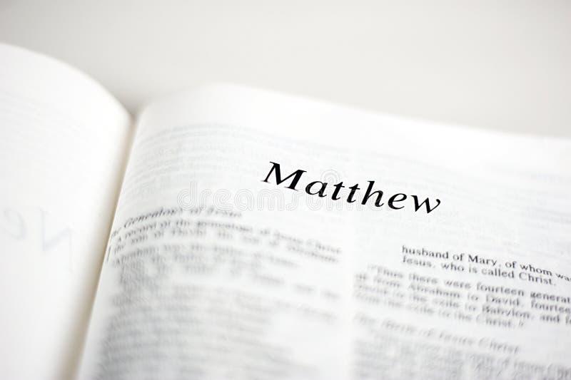 Bok av Matthew royaltyfri fotografi