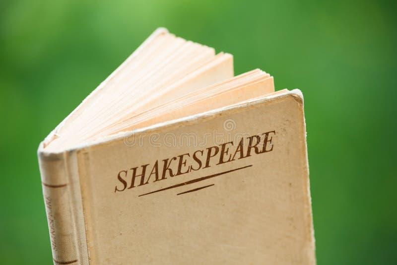 Bok av Shakespeare på grön bakgrund royaltyfria bilder
