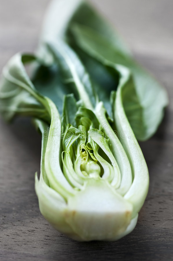 Bok choy. Close up of halved green bok choy vegetable greens stock photography