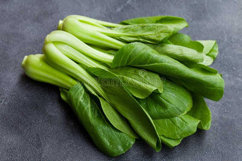 Bok choy fresh salad. Grey background. Close up. Bok choy fresh salad. Grey background. Close up royalty free stock photo
