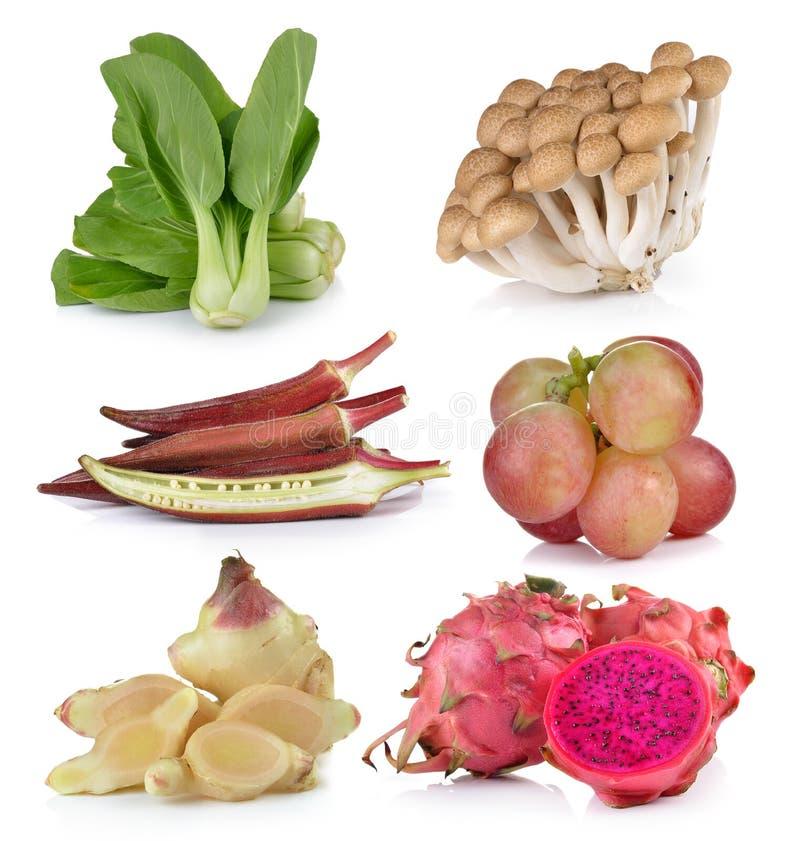 Bok choy, roselle, grapeginger, Drachefrucht, Pilze stockfotografie