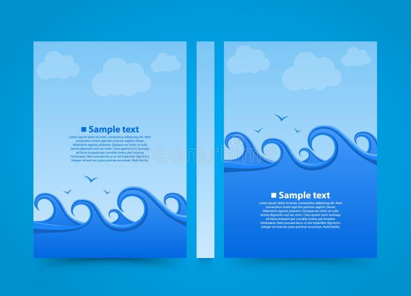 Bok för baner för reklambladhavsvåg Papper för format för sommarstrand A4, malldesignbeståndsdel, vektorbakgrund stock illustrationer