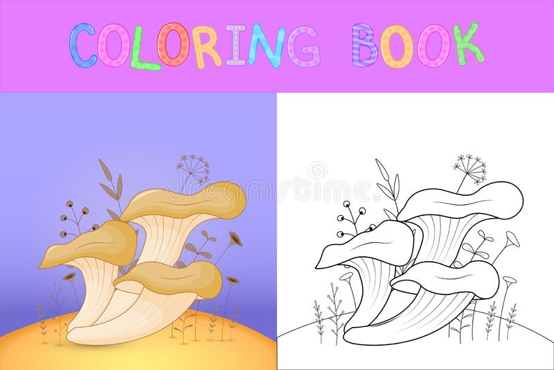 Bok för färgläggning för barn` s med tecknad filmdjur Bildande uppgifter för gulliga champinjoner för förskole- barn vektor illustrationer