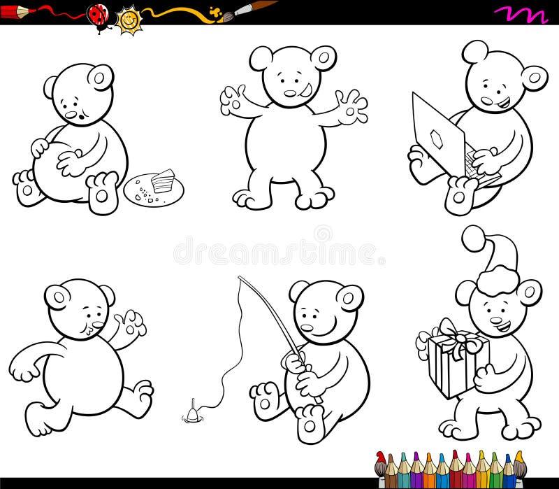 Bok för färgläggning för tecknad filmbjörntecken fastställd stock illustrationer