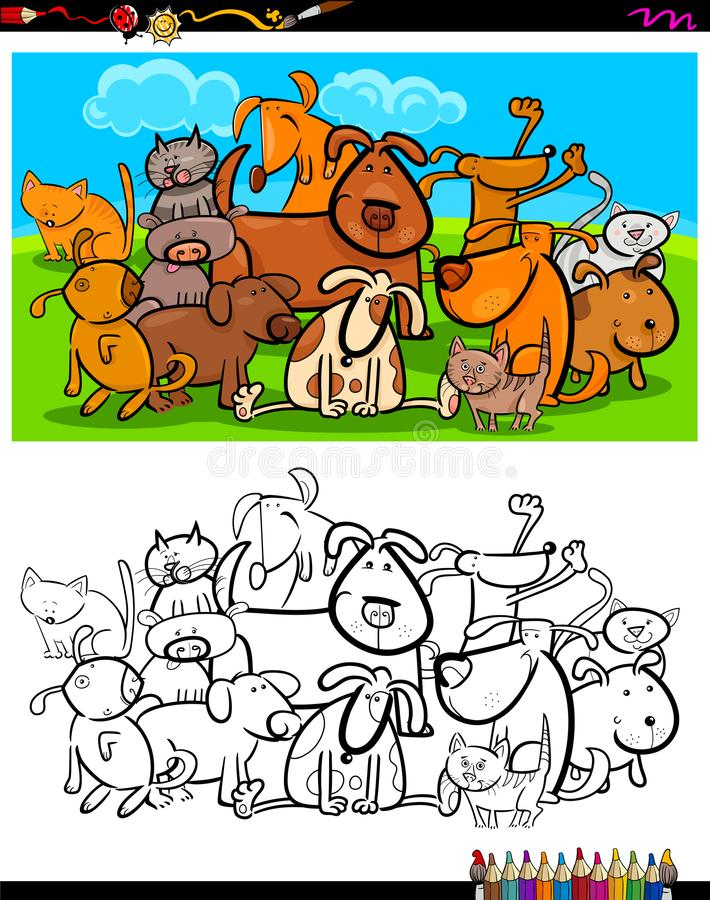 Bok för färgläggning för katt- och hundkapplöpningteckengrupp royaltyfri illustrationer