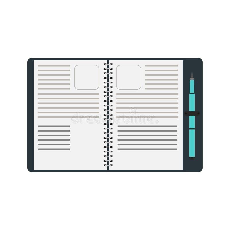 Bok för notepad för vektor för anteckningsbokspiralpenna Isolerad anmärkningsvit vektor illustrationer