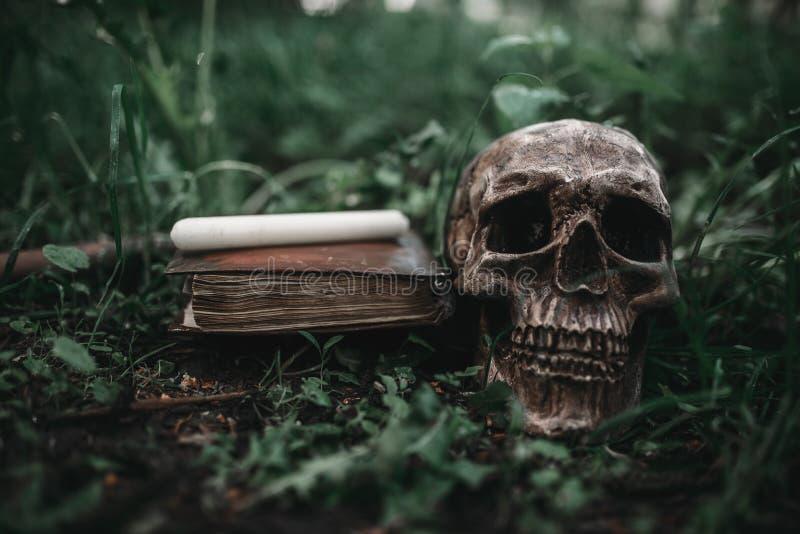 Bok för svart magi med ockulta symboler och skallen arkivbilder
