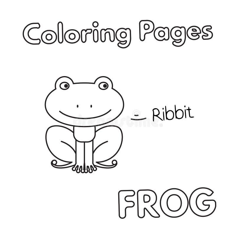 Bok för tecknad filmgrodafärgläggning stock illustrationer