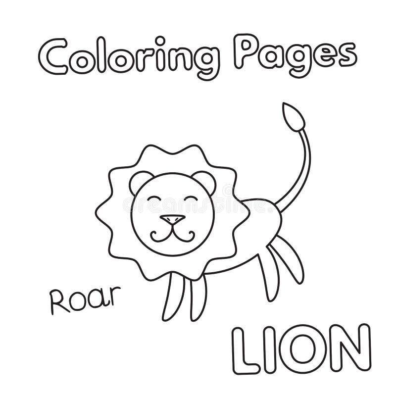 Bok för tecknad filmlejonfärgläggning royaltyfri illustrationer