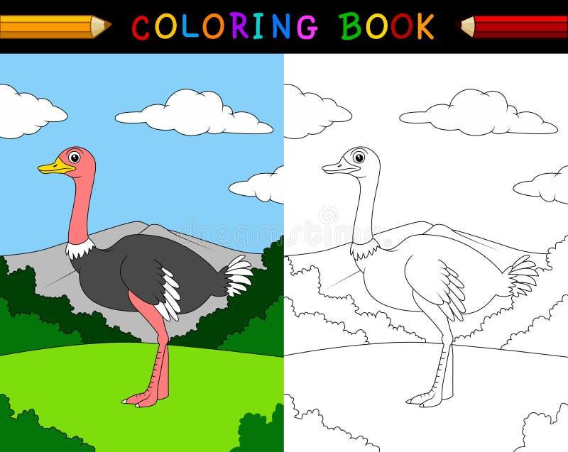 Bok för tecknad filmstrutsfärgläggning vektor illustrationer