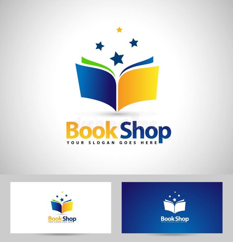Bok Logo Book Shop Icon vektor illustrationer