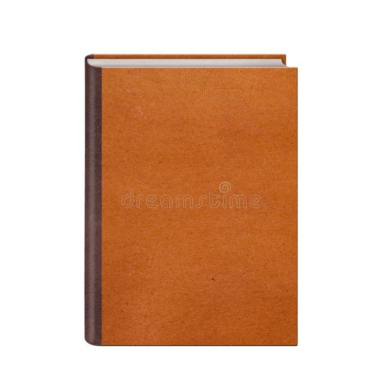 Bok med bruna den isolerade läderhardcoveren royaltyfri fotografi