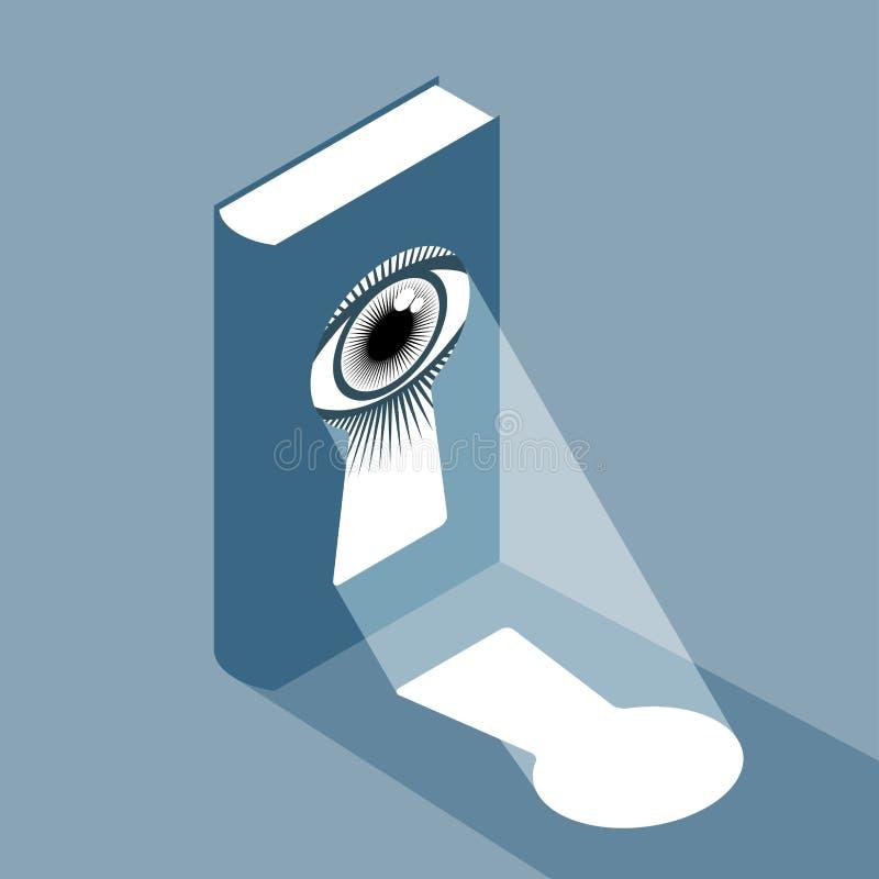 Bok med nyckelhålet och ögat stock illustrationer
