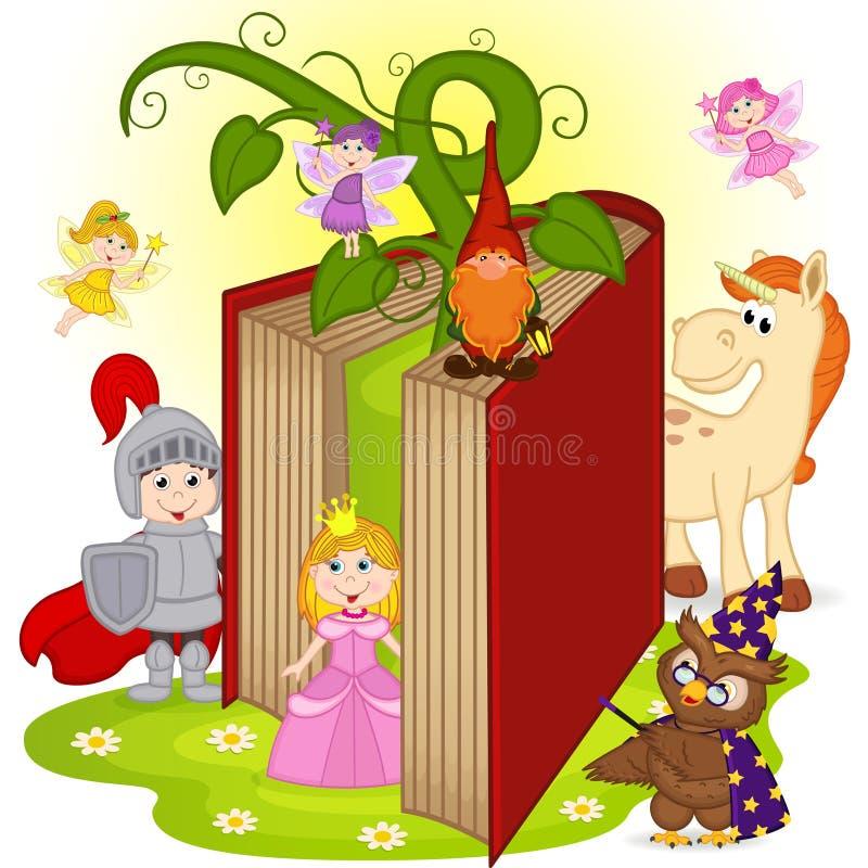 Bok med tecken från sagor royaltyfri illustrationer