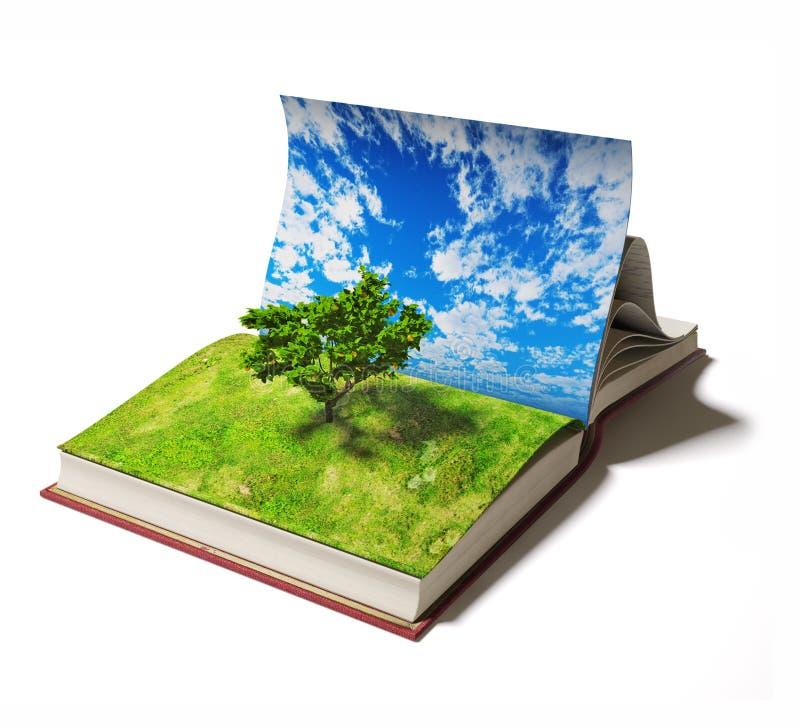 Bok med trädet vektor illustrationer