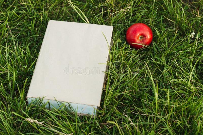 Bok och äpple på gräset fotografering för bildbyråer