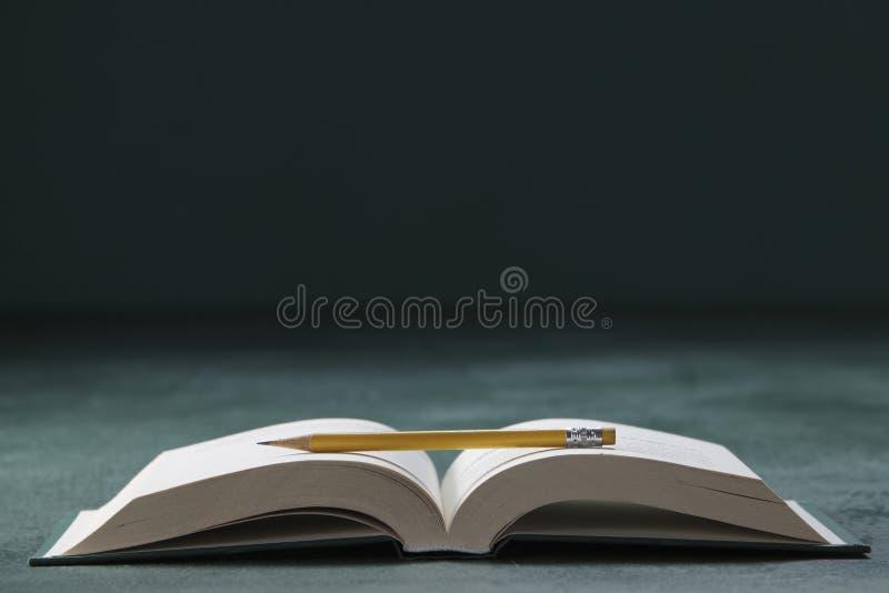 Bok och blyertspenna arkivbilder