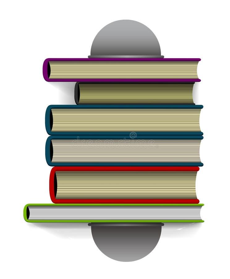 Bok- och bokställ direkt uppifrån illustration stock illustrationer