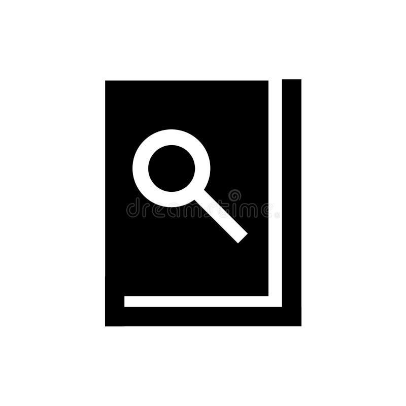 Bok och förstorande symbolsvektortecken och symbol som isoleras på vit bakgrund, boken och förstorande logobegrepp royaltyfri illustrationer