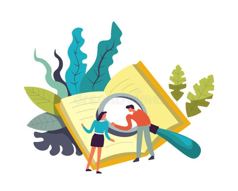 Bok och folk som gör forskningar med förstoringsglasvektorn stock illustrationer