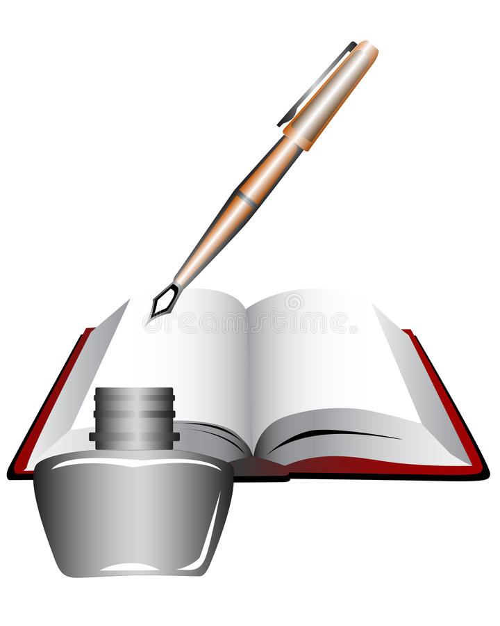 Bok och penna. royaltyfri illustrationer