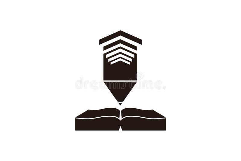 bok- och podiumlogo royaltyfri illustrationer