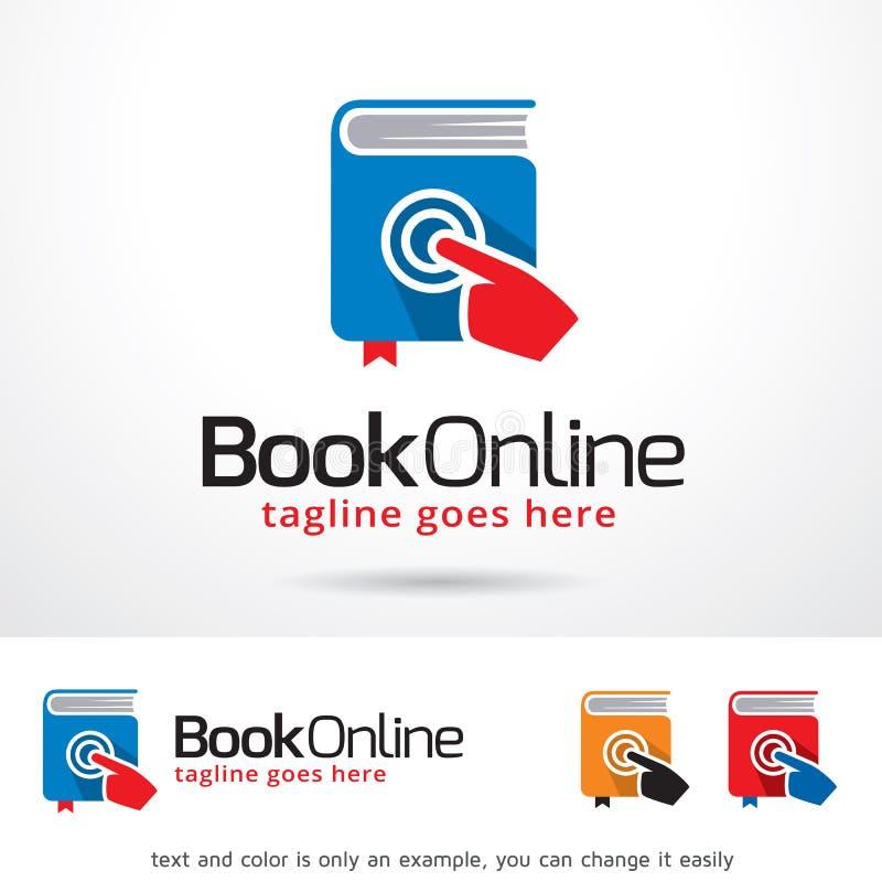 Bok online-Logo Template Design Vector vektor illustrationer