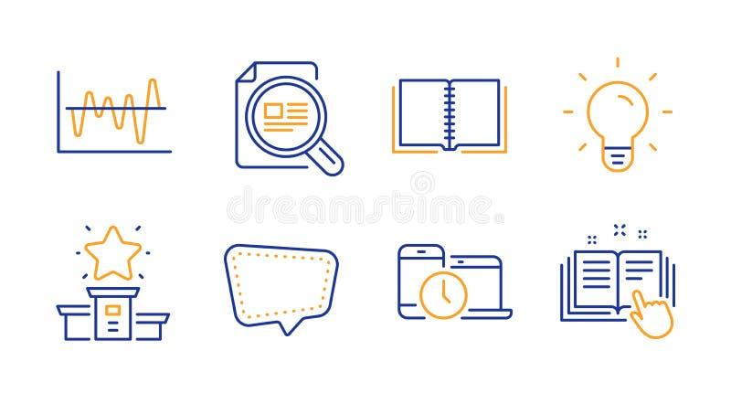 Bok-, pratstundmeddelande och uppsättning för vinnarepodiumsymboler Tecken kontrollera artikeln, den ljusa kulan och för materiel stock illustrationer