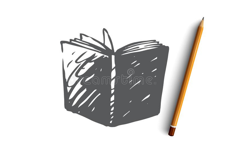 Bok som är öppen, arkiv, utbildning, sidabegrepp Hand dragen isolerad vektor vektor illustrationer