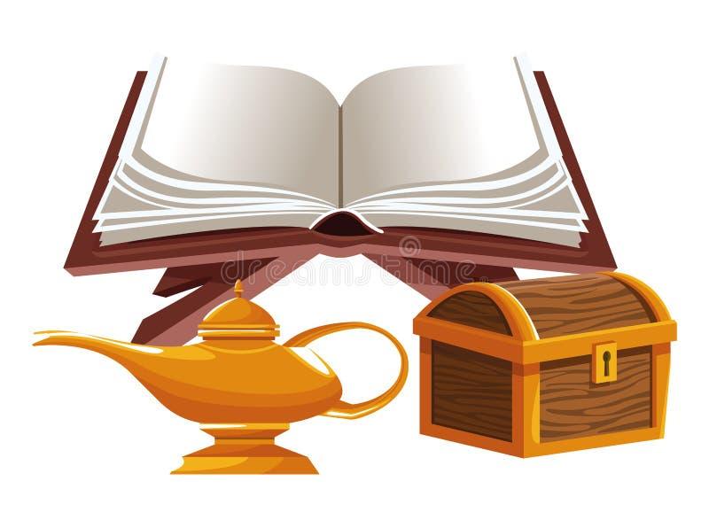 Bok som är öppen med den magiska lampan och träbröstkorgen vektor illustrationer