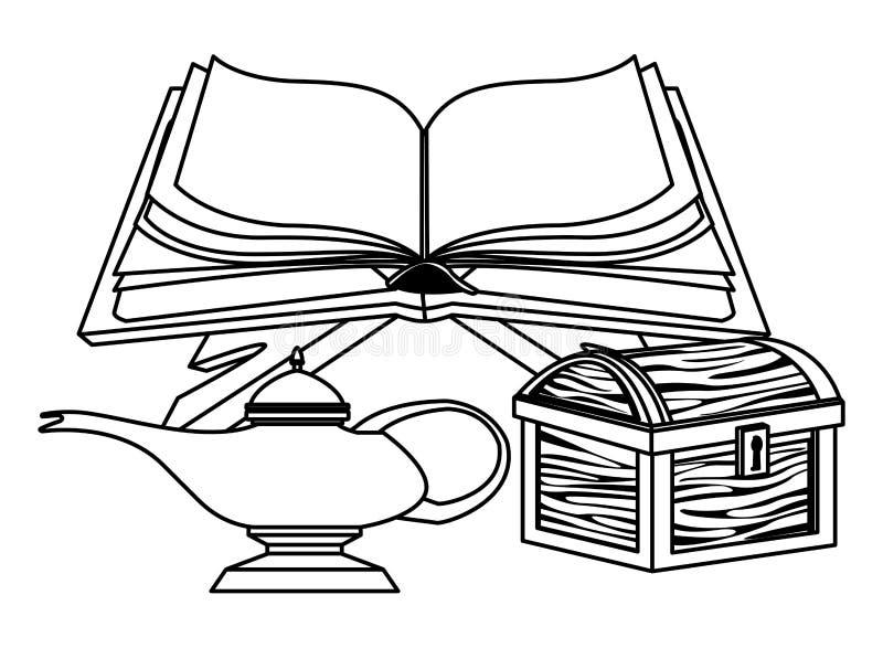 Bok som är öppen med den magiska lampan och träbröstkorgen i svartvitt vektor illustrationer